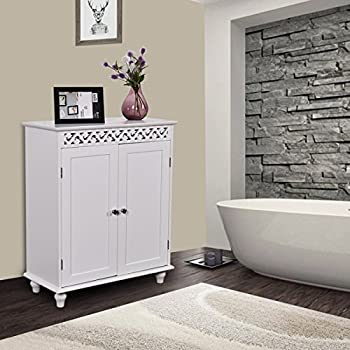 tangkula floor cabinet white wooden free standing bathroom 2 shelves storage cabinet