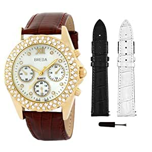 Breda Women's 5113-goldbrown.2bandset Victoria Watch and Two Band Rhinestone Mother-Of-Pearl Dial Gift Set
