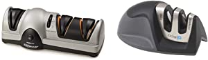 Presto 08810 Professional Electric Knife Sharpener & KitchenIQ 50009 Edge Grip 2-Stage Knife Sharpener, Black