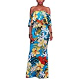 Suimiki Vintage Ruffle Plain Floral Printed Off Shoulder Bodycon Long Party Maxi Dress Blue Style-2 Small