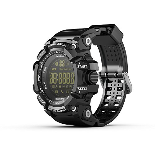 Professional Outdoor Sports Smartwatch for Men 2017 LALYGEE EX16 Bluetooth 4.0 5 ATM & IP67 Waterproof (50M) Extra big Battery Capacity 2 Years Standby Wear Watch for Android and IOS Black