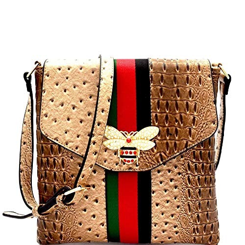 Bee Charm Color Block Striped Ostrich Cross Body Bag