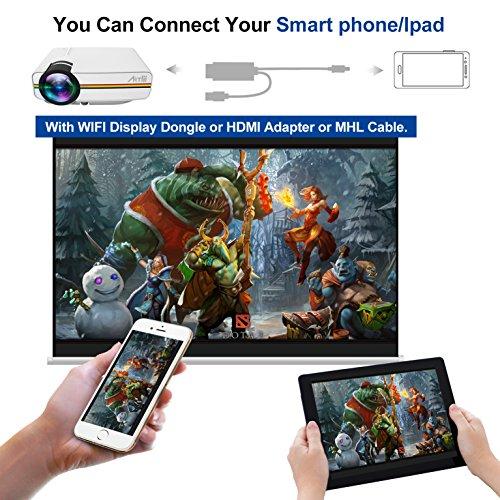 Artlii Proyector Led, Mini Videoproyectores 1200 lúmenes Portátil Proyector Full HD 1080p Casa Cine (Blanco)