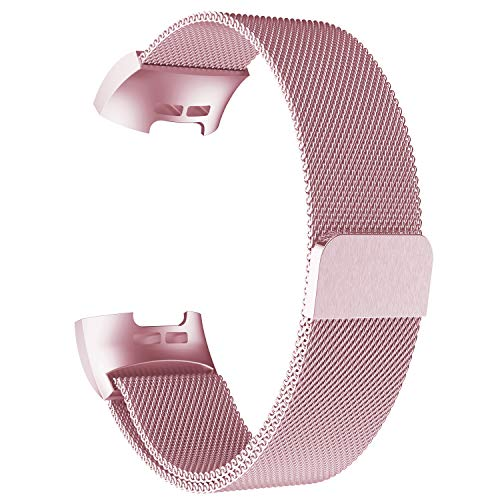 POY Metal Replacement Bands Compatible for Fitbit Charge 3 and Charge 3 SE Fitness Activity Tracker, Milanese Loop Stainless Steel Bracelet Strap with Unique Magnet Lock for Women Men, Small Rose Pink