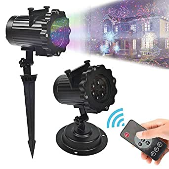 YOUDirect LED Projector Lights - 16PCS Switchable Pattern Lens Remote Control Spotlight Waterproof Rotating Landscape Lamps for Christmas Halloween Holiday Party Decoration