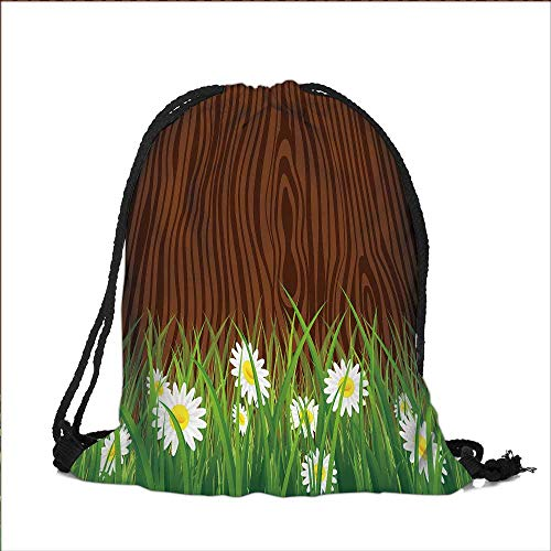 Pocket Drawstring Bag Antique Old Planks American Style Western Rustic Wooden and white daisies, thick growth of grass Backpack Student Bag 12