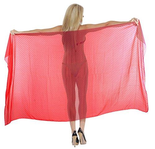 LA LEELA Sheer Chiffon Beach Bikini Cover Up Wrap Sarong Dotted 88