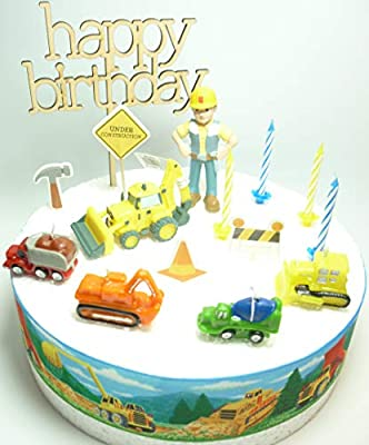 Strange Osk Bob The Builder Construction Birthday Cake Decoration Set Funny Birthday Cards Online Elaedamsfinfo