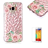 Funyye Crystal Rubber Case for Samsung Galaxy S8,Luxury 3D Rose Pattern Slim Fit Flexible Soft Silicone Gel TPU Case for Samsung Galaxy S8,Anti Scratch Durable Shell Bumper Back Protective Case for Samsung Galaxy S8 + 1 x Free Screen Protector