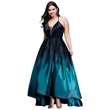 Strappy Satin Ombre High-Low Plus Size Prom Dress Style A20730W, Navy, 20 at Amazon Womens Clothing store: