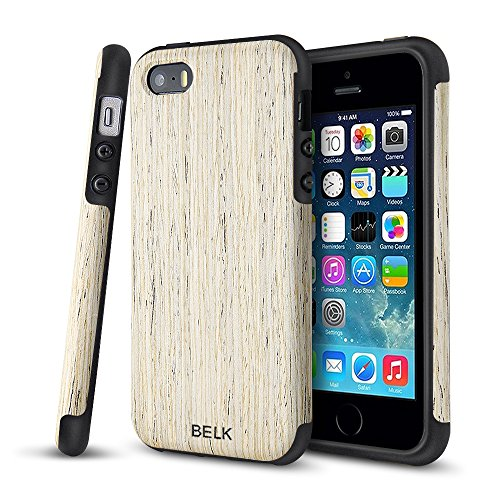 Iphone Se Case  Iphone 5S Case  Belk  Air To Beat  Non Slip Wood Tactile  Slim Matte  Grip Bumper  Ultra Light  Soft Tpu Back Cover  Premium Smooth Wooden Shell For Iphone Se Iphone 5S  Birch