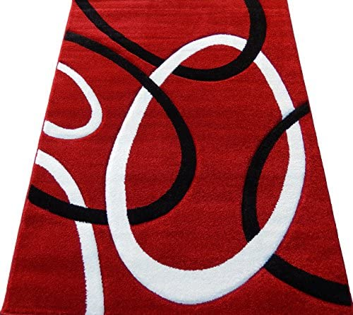 Modern Persian contemporary 6×8 Area Rug Red White Black New Actual Size 5 3×7 2