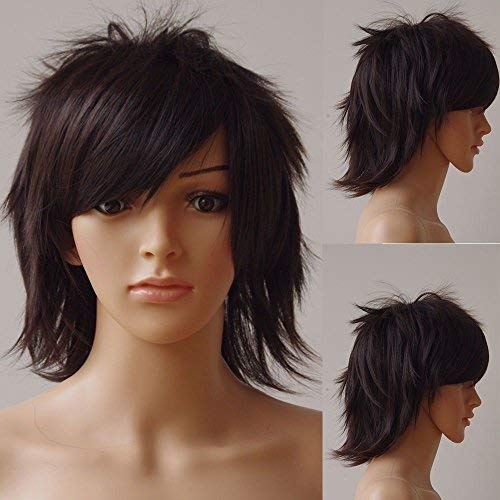 Unisex Short Curly Straight Anime Cosplay Wig Heat Resistant Japanese Kanekalon Synthetic Fiber With Oblique Bangs (dark -