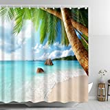 ABxinyoule Palm Tree Shower Curtain Beach Blue Sea Tropical Coconut Waterproof Fabric with Hook Bathroom Decor Accessory