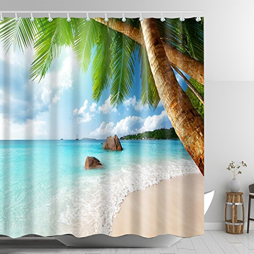 ABxinyoule Palm Tree Shower Curtain Beach Blue Sea Tropical Coconut Waterproof Fabric with Hook Bathroom Decor Accessory by ABxinyoule