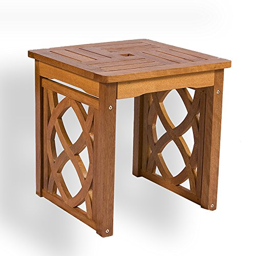 European Designed Indoor Outdoor Mahogany Solid Hardwood End Table, Side Table or Lamp Table with Celtic Knot Design and Teak Oil Finish