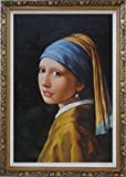 Framed Oil Painting 36''x24'' Girl with a Pearl Earring by Jan Vermeer Portrait Woman Classic Ornate Frame