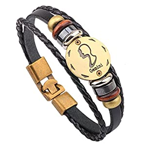 Winter's Secret Hand Braided Twelve Constellations Gemini Black Leather Alloy Pull Clasp Wrap Bracelet