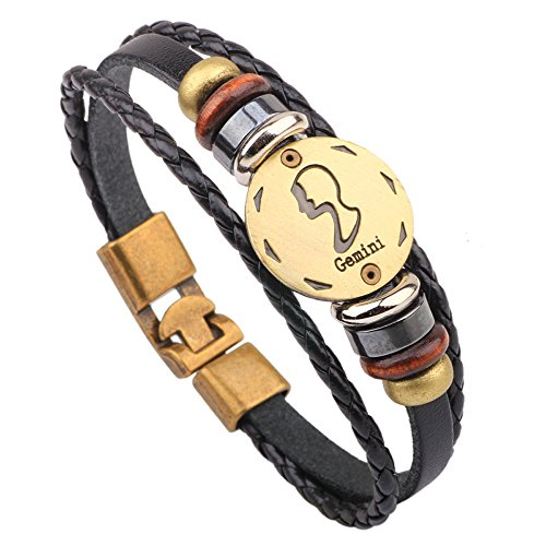 Viton Needle (Winter's Secret Hand Braided Twelve Constellations Gemini Black Leather Alloy Pull Clasp Wrap Bracelet)