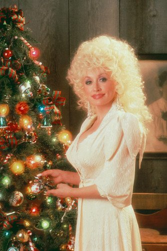 dolly parton by christmas tree 24x36 poster
