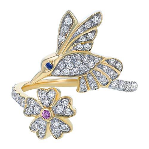 Olivia Paris 14K Gold Diamond and Sapphire Hummingbird Ring (3/8 cttw, H-I, I1) (yellow-gold, 6)