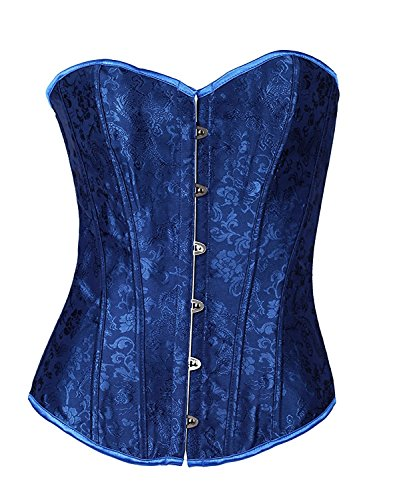 Henraly Blue Vintage Strapless Corset Bustiers Corset Waist Cincher Halloween Party Vampire Cosplay -