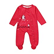 callm Baby Boy Girls Romper Outfits Unisex Newborn My First Christmas Animal Jumpsuit (0-3 Months, Red)