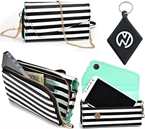 Exclusive White And Black Pin Stripe Safari [URBAN] Phone Case Wristlet Fits Samsung Fascinate + NuVur ™ Keychain (ESMLUSW1)