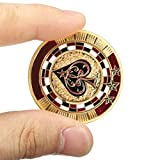 Metal Poker Guard Card Gold Plated With Round Plastic Case Protector Coin Chip by DOM