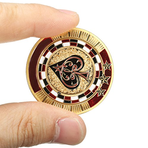 BangBang Metal Poker Guard Card Gold Plated With Round Plastic Case Protector Coin Chip - Poker Coin Card Guard