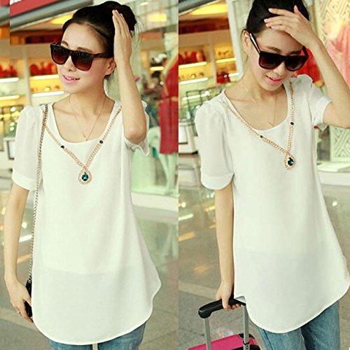 OURS Women's Short Sleeve O-neck Casual Chiffon T-shirt Shirts Blouse Tops (XXXL, White)