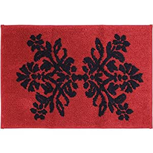 Better homes and gardens red scroll decorative collection bath rug home kitchen for Better homes and gardens bathroom rugs