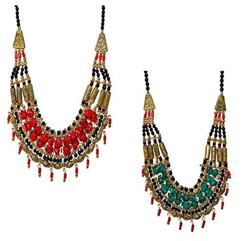 Set Pair Combo of 2 Junk Handmade Beaded Tibetan Indian Turquoise Oxidized Vintage Multi Strand Layered Fashion Chunky Choker Collar Bib Necklace