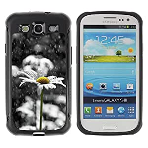 All-Round Hybrid Rubber Case Hard Cover Protective Accessory Compatible with SAMSUNG GALAXY S3 & I9300 - daisy white sad beautiful black