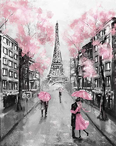 (Faicai Art Black and White Wall Art HD Prints Landscape Canvas Paintings Paris Street Artwork European City Wallpaper Eiffel Tower Pink Trees Couple Modern Wall Decor Pictures Wooden Framed 20x28inch)