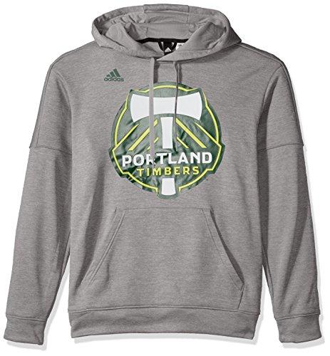 adidas Adult Men Logo Set Team Issued Fleece Hood, Grey, Medium