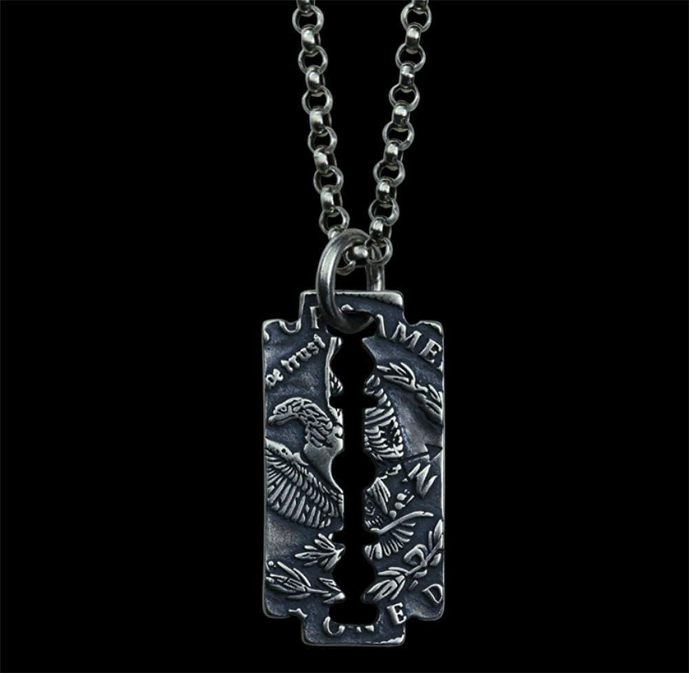 LUCKYYAN Vintage 925 Silver Necklace Eagle Blade Pendant Personalized Nightclub Accessories for Men and Women