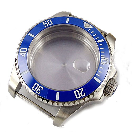 Parnis 40MM Sapphire Glass Ceramic Bezel Stainless Steel Watch Case Fit ETA 2824/2836 Movement (Blue Bezel)