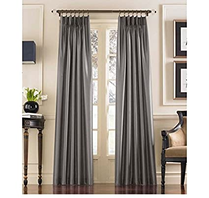 DH 1 Piece 132 Inch Pewter Color Pinch Pleat Curtain Single Panel Silver Grey Puckered