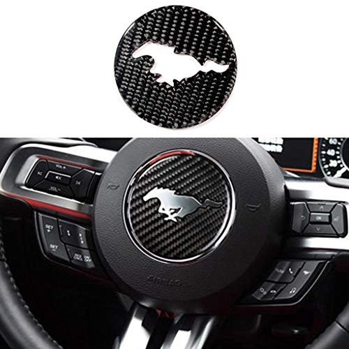 - TopDall Carbon Fiber Steering Wheel 3D Sticker Cover Trim For Ford Mustang 2016-2019