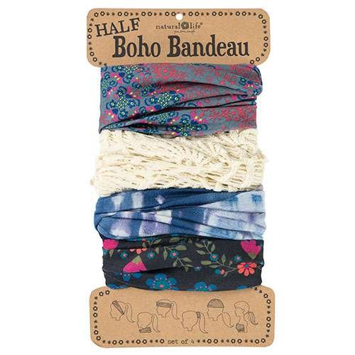 Natural Life Half Boho Bandeau, Black Floral, Cream, Blue Tie Dye, Pink/Grey, Set of 4