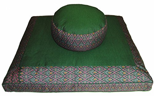 Meditation Cushion Zafu Zabuton Set - Buckwheat and Kapok Fill - Ikat Diamond Green