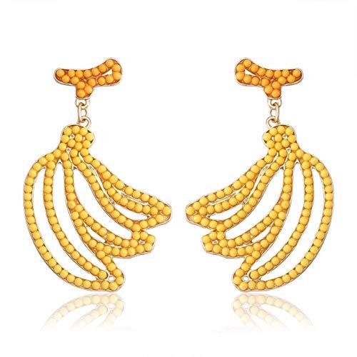 (CEALXHENY Beaded Earrings Handmade Seed Bead Drop Earrings Statement Beaded Fruit Dangle Earrings for Women Girls (Banana))