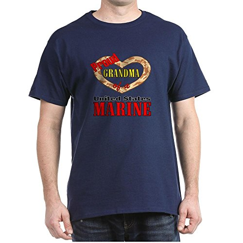CafePress Proud Marine Grandma 100% Cotton T-Shirt Navy
