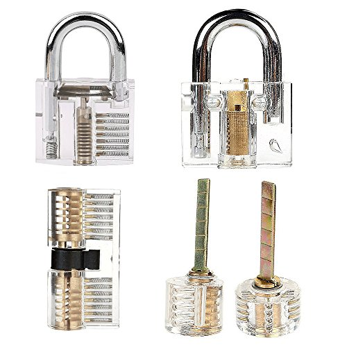 LeaningTech 5PCS Professional Transparent Cutaway Practice Keyed Locks for Locksmith