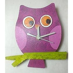 Oxidos Handmade Free Trade Baby Owl Wall Clock with Swinging Pendulum (Fuschia Pink)