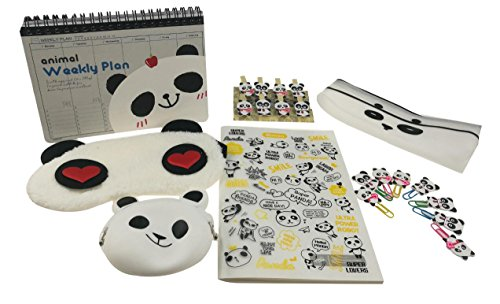 Cute Panda Theme Grocery Gift Set 21 Pieces With 1 Sleep Eye Mask 1 Weekly Planner 1 Plastic Cover Notebook 1 Pencil Pouch 1 Coin Purse 8 Paper Clip 8 Clip