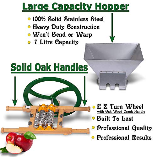 Fruit & Apple Crusher for Wine & Cider Pressing - Manual Juicer Grinder & Fruit Scatter - Heavy Duty Stainless Steel Cutting Blades & Hopper - By Green Max Products by Montimax By Green Max Products (Image #1)