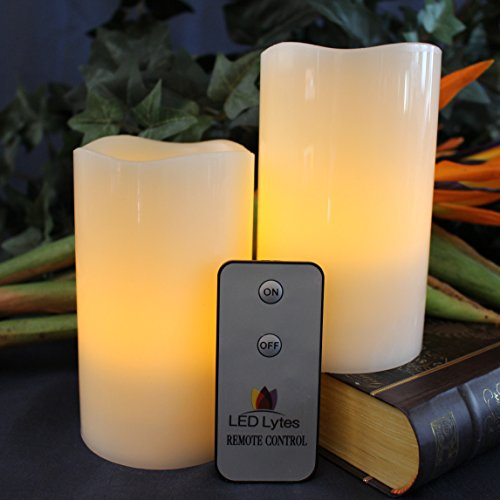 LED Lytes Flameless Candles Battery Operated with Remote - 2 Amber Yellow Flickering Pillars for...
