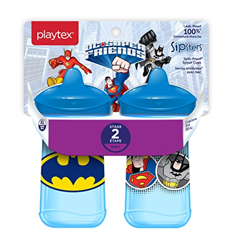 ge 2 Super Friends Spill-Proof, Leak-Proof, Break-Proof Spout Sippy Cups for Boys - 9 Ounce - 2 Count ()